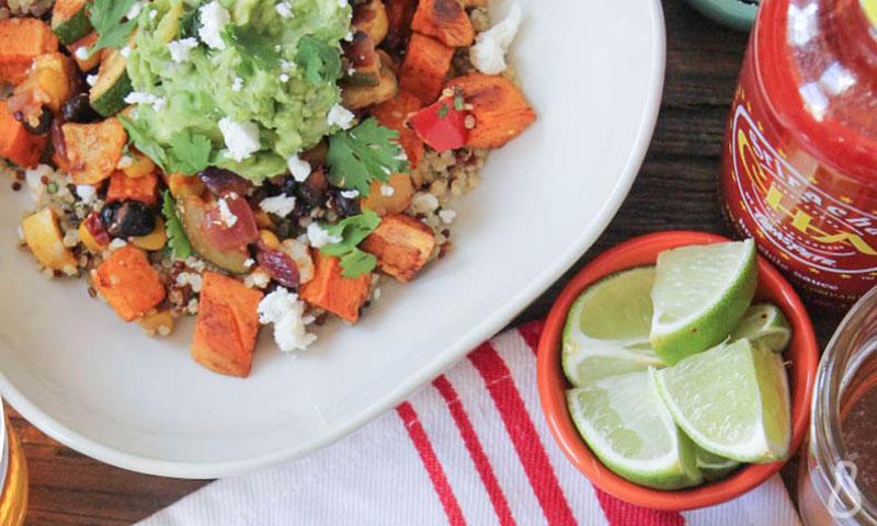 Sweet Potato Burrito Bowls with Summer Vegetables and Quinoa [Vegan]
